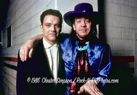 Stevie Ray Vaughan with brother Jimmy 1986